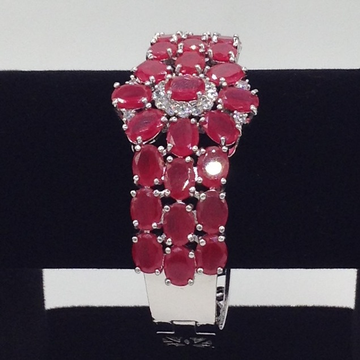 White And Red CZ Openable Kada Bracelet JBG0038