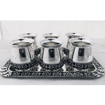 92.5% Pure Silver Stylish Glasses And Tray Set PO-170-05