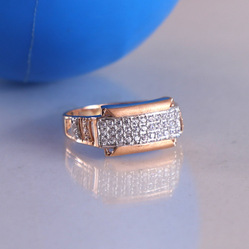 18ct rose gold cz daimond  mans ring