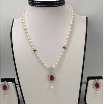 White And Red CZ PendentSet With OvalPearls Mala JPS0082