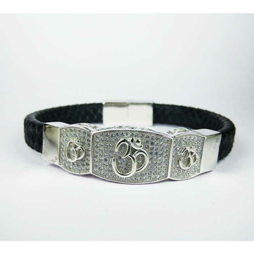 New 925 Silver Gents Black Leather Bracelet With Om