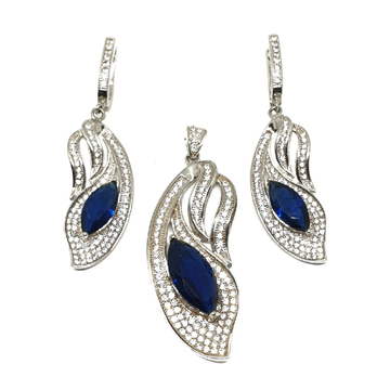 925 Sterling Silver Blue Stone Modern Pendant Set MGA - PTS0010
