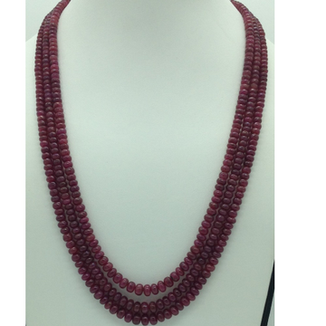 Natural Red Ruby Round Plain 3 Layers Necklace JSR...