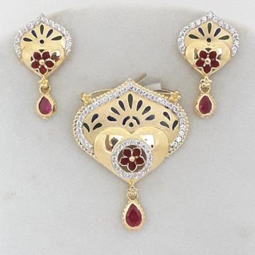 916 cz gold exclusive pendent set