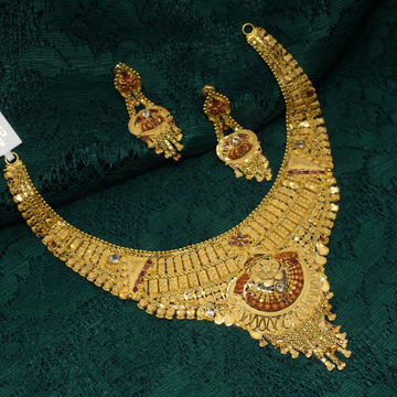 916 hallmarked simple necklace set by Simandhar Jewellers