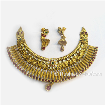 916 antique gold bridal choker necklace and earring set designs