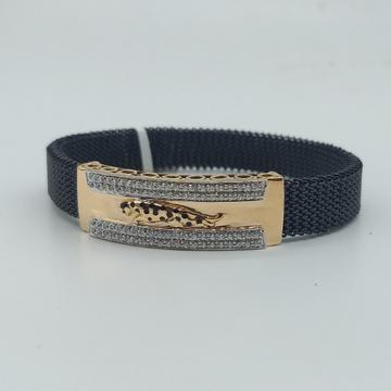 18K Gold Bracelet in Black Strachable Belt by