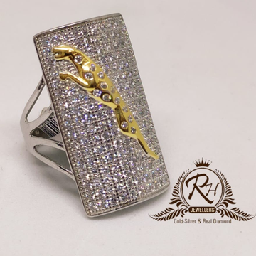92.5 silver traditional jaguar daimond gents ring Rh-Gr948