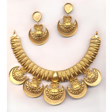 916 Gold Polki Necklace Khokha OM - N013