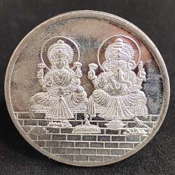 Silver Lakshmi Ganesh coin by