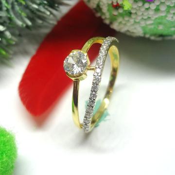 916 gold cz diamond solitaire ladies ring