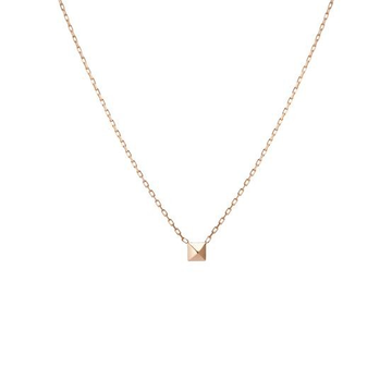 18kt rose gold delicate chain with small square pendant for women jkc008
