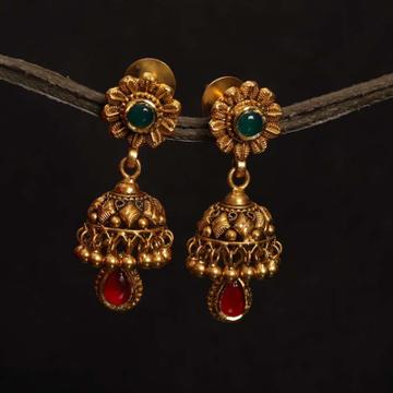 22k Jadtar earring Antique jewellery for women by