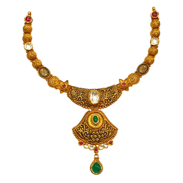 22K Gold Antique Designer Necklace Set MGA - GN0090