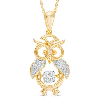 22kt, 916 Hm, Yellow Gold owl Pendant with diamonds Jkp171.