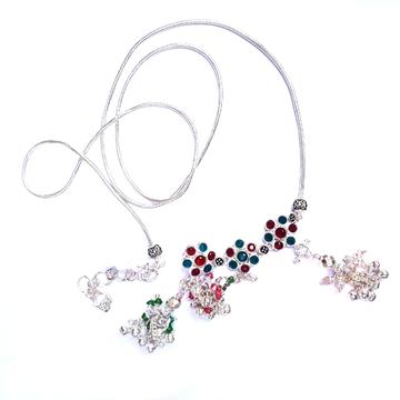 3 colour diamonds flower silver kandora mga - kns0002