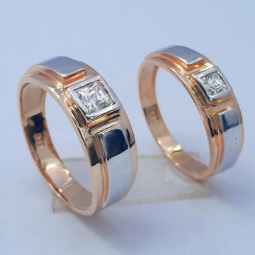 18KT Rose Gold Unique Design Hallmark Couple Ring  by Panna Jewellers