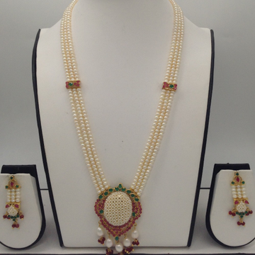 Red, Green CZ And Pearls Pendent Haar Set With 3Line FlatPearls Mala JPS0356