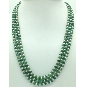 White Flat Pearls with Green Bariels 3 Layers Necklace JPM0430