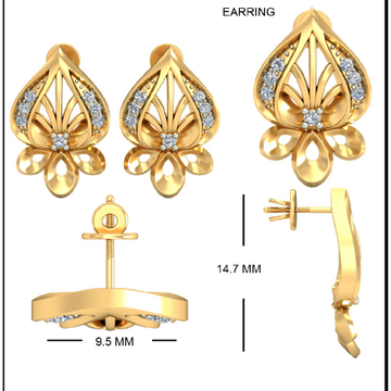 22Kt Yellow Gold Cadenza Earrings For Women