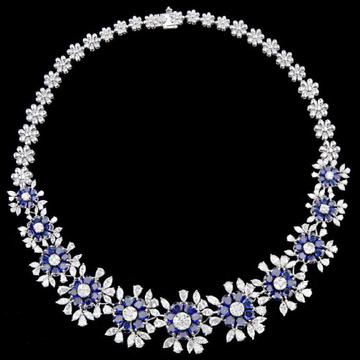 Diamonds and Blue Sapphires NecklaceJSJ0162