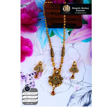 22KT Gold Antique Long Necklace Set DKG-0020