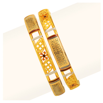 916 Gold Double Pipe Copper Kadli Bangle RJDP-057