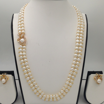 White CZ And Pearl BroachSet With 2Line ButtonJali Pearls Mala JPS0363