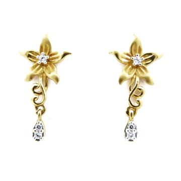 22K gold flowery earring by