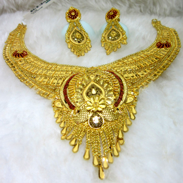 Broad bridal gold hm916 culcutti necklace set