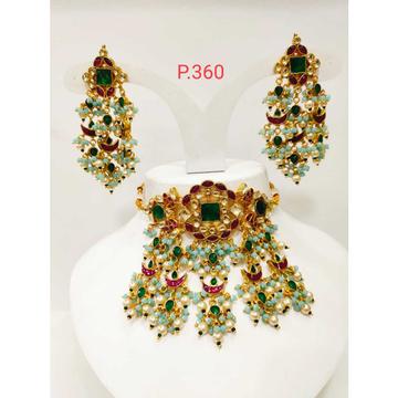 Multi color stone & pearl bridal kundan necklace set 1194