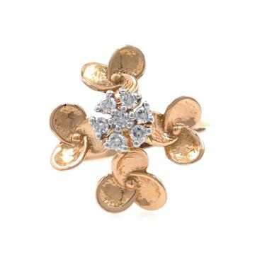 18kt / 750 rose gold - golden flower diamond ladie...