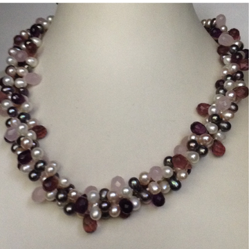 Freshwater White Oval Drops 3 Layers Twisted Necklace with Amethyst Faceted Drops