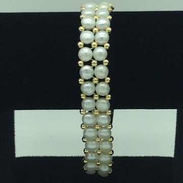White Button Pearls With Golden Jaco Balls 2 Layers Bracelet JBG0147