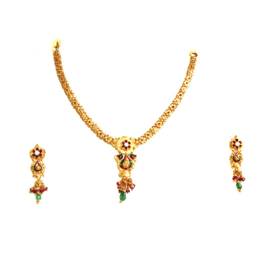 916 Gold Flower Shaped Light Weight Necklace Set MGA - GN064