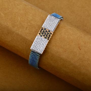 Mens Exclusive Rose Gold Diamond Spring 18K Leather Bracelet-MLB08