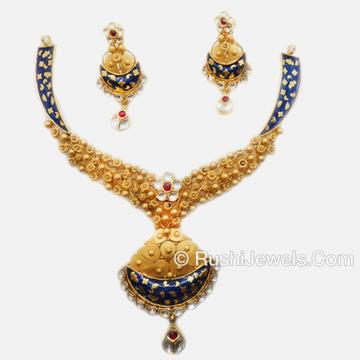 22k Gold Fancy Jadtar Necklace Set
