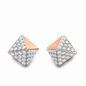 18KT Diamond Shape Rose Gold Earring by