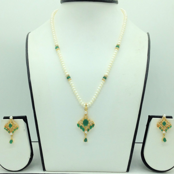 White and Green CZPendentSet With 1Line FlatPearls Mala JPS0685