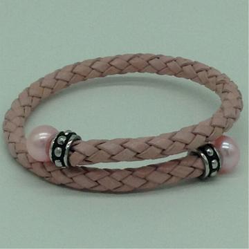 Pink ButtonPearls LeatherStiff BraceletJBG0178