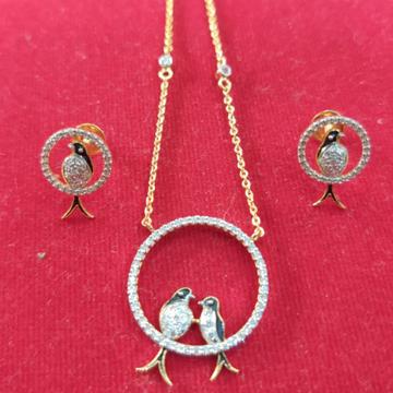 916 CZ gold Hallmark  Bird's Antique  Pendant Set  by