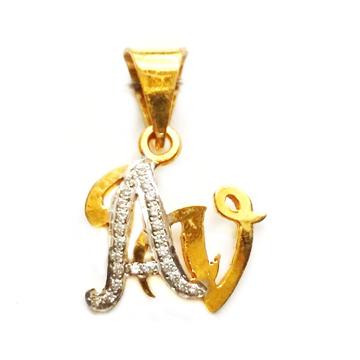 22k Gold Modern Style AV Monogram Pendant MGA - MGP010