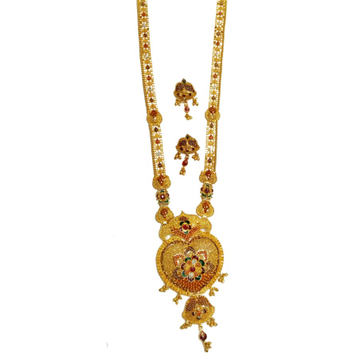 22k Rajwadi Flower Shape Necklace Set MGA - GLS044