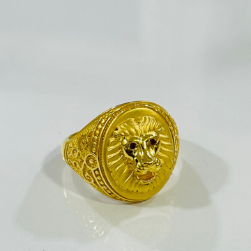 916 gold gents lion ring by