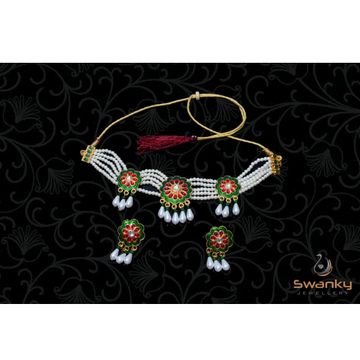 Attractive white pearl moti set with colourfull mi... by Swanky Jewellery