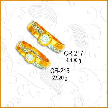 916 Gold Fancy CZ Diamond Couple Ring CR-217