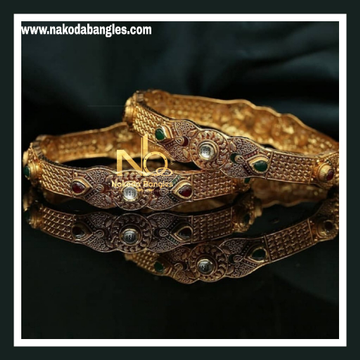 916 Gold Antique Bangles NB - 743