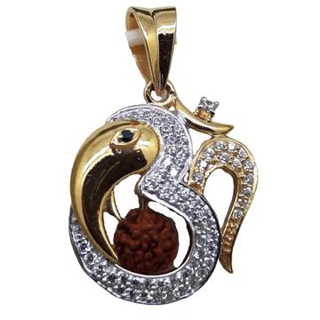 916 Gold CZ OM Design Rudraksh Pendants