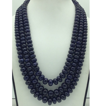 Natural Blue Sapphires Round Beeds3Layers Neckla...