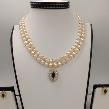 White and greencz pendentset with 2line buttonjali pearls mala jps0390